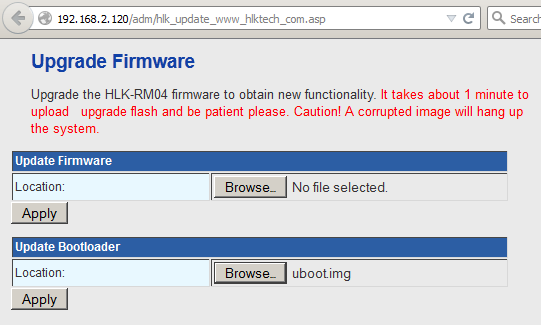 Upload Firmware